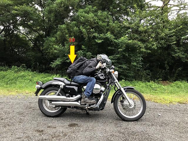 リュックでバイクに乗る